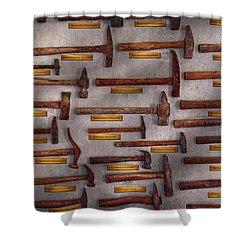 Blacksmith - Tools - Pounding Headache  Shower Curtain by Mike Savad