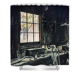 Blacksmiths Workbench - One October Afternoon Shower Curtain by Gary Heller