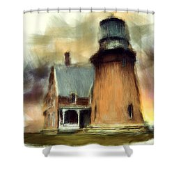 Block Island Light Shower Curtain by Lourry Legarde