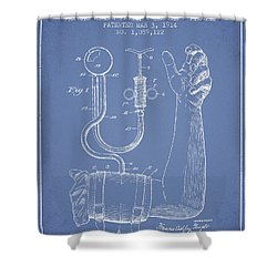 Blood Pressure Cuff Patent From 1914 -light Blue Shower Curtain by Aged Pixel