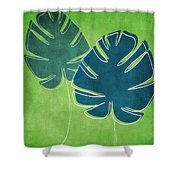 Blue And Green Palm Leaves Shower Curtain by Linda Woods