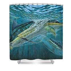 Blue And Mahi Mahi Underwater Shower Curtain by Terry Fox