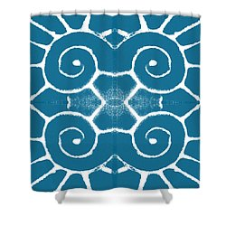 Blue And White Wave Tile- Abstract Art Shower Curtain by Linda Woods