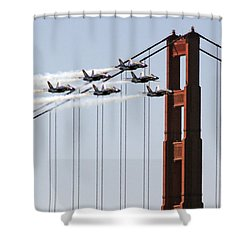 Blue Angels And The Bridge Shower Curtain by Bill Gallagher