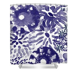 Blue Bouquet- Contemporary Abstract Floral Art Shower Curtain by Linda Woods