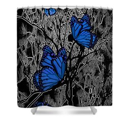 Blue Butterflies Shower Curtain by Barbara St Jean