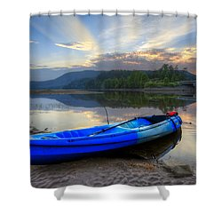 Blue Canoe At Sunset Shower Curtain by Debra and Dave Vanderlaan
