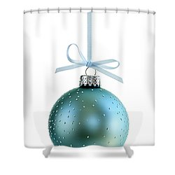 Blue Christmas Ornament Shower Curtain by Elena Elisseeva