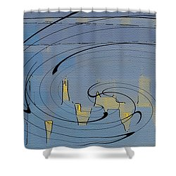 Blue Cityscape Shower Curtain by Ben and Raisa Gertsberg