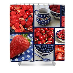 Blue Dishes And Fruit Collage Shower Curtain by Carol Groenen