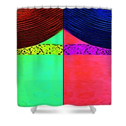 Blue Earring - Purple Lady Combo Shower Curtain by Chuck Staley