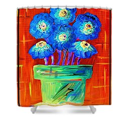 Blue Flowers On Orange Shower Curtain by Eloise Schneider