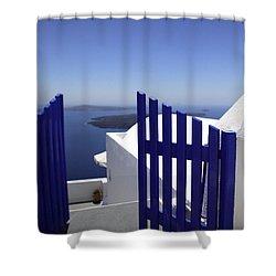Blue Gate Shower Curtain by Deborah Benbrook
