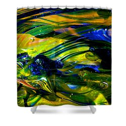 Blue Green Glass Macro Shower Curtain by David Patterson