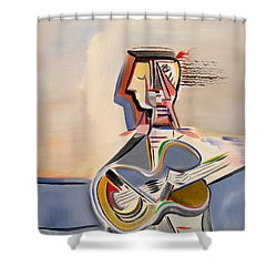 Blue Guitar Shower Curtain by Dennis Davis