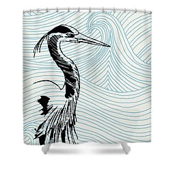 Blue Heron On Waves Shower Curtain by Konni Jensen
