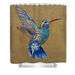 Turquoise Hummingbird Shower Curtain by Michael Creese