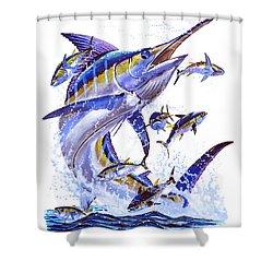 Blue Marlin Shower Curtain by Carey Chen