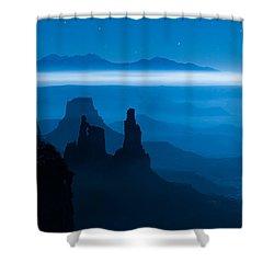 Blue Moon Mesa Shower Curtain by Dustin  LeFevre