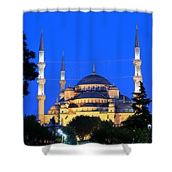 Blue Mosque At Dawn Shower Curtain by Stephen Stookey