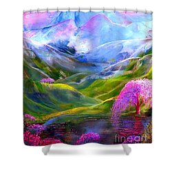 Blue Mountain Pool Shower Curtain by Jane Small