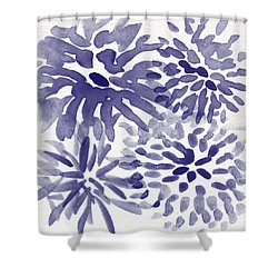 Blue Mums- Watercolor Floral Art Shower Curtain by Linda Woods