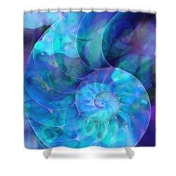 Blue Nautilus Shell By Sharon Cummings Shower Curtain by Sharon Cummings
