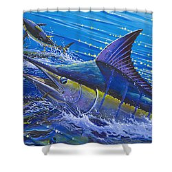 Blue Persuader  Shower Curtain by Carey Chen
