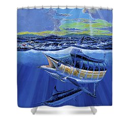 Blue Pitcher Off00115 Shower Curtain by Carey Chen