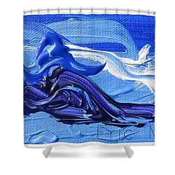 Blue Purple  Abstract Shower Curtain by Eric  Schiabor
