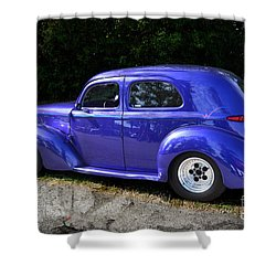 Blue Restored Willy Car Shower Curtain by Luther   Fine Art