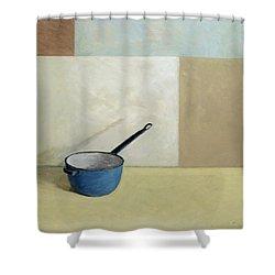 Blue Saucepan Shower Curtain by William Packer