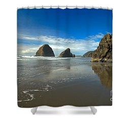 Blue Skies Over Meyers Beach Shower Curtain by Adam Jewell
