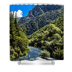 Blue Sky Shower Curtain by Sotiris Filippou