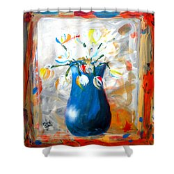 Blue Thing Shower Curtain by Marcello Cicchini
