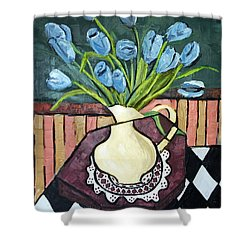 Blue Tulips On Octagon Table Shower Curtain by Anthony Falbo