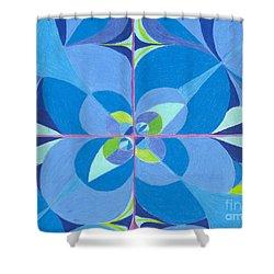 Blue Unity Shower Curtain by Kim Sy Ok