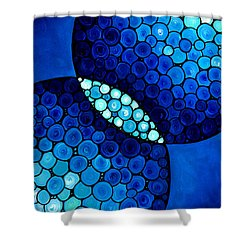 Blue Unity Shower Curtain by Sharon Cummings