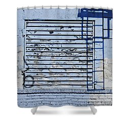 Blue Wall Shower Curtain by Sarah Loft