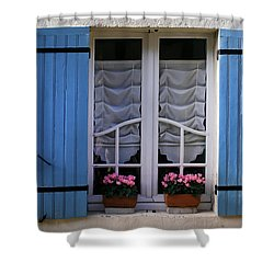 Blue Window Shutters Shower Curtain by Georgia Fowler
