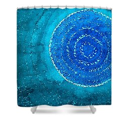 Blue World Original Painting Shower Curtain by Sol Luckman