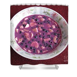 Blueberry And Banana Soup Shower Curtain by Ausra Huntington nee Paulauskaite