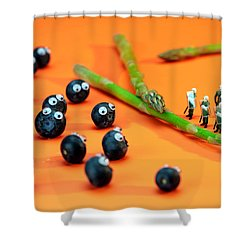 Blueberry Protesting Shower Curtain by Paul Ge