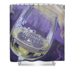 Bluestone Vineyard Wineglass Shower Curtain by Donna Tuten