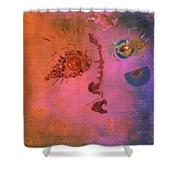 Blushing Bot Shower Curtain by Fran Riley