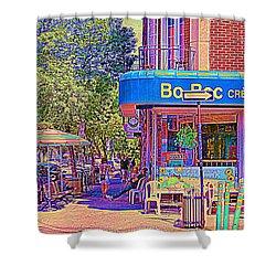 Bo Bec Creme Glacee Ice Cream Shop Laurier Montreal Springtime Cafe Scene By Carole Spandau Shower Curtain by Carole Spandau