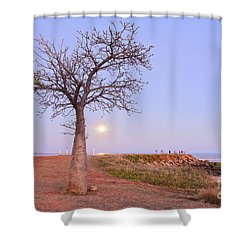 Boab Tree And Moonrise At Broome Western Australia Shower Curtain by Colin and Linda McKie