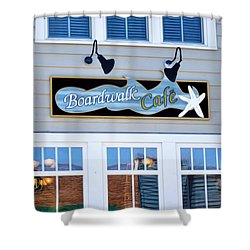 Boardwalk Cafe Shower Curtain by Lanjee Chee