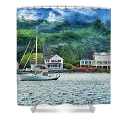 Boat - A Good Day To Sail Shower Curtain by Mike Savad