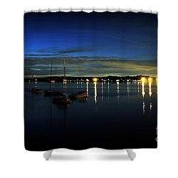 Boating - The Marina At Night Shower Curtain by Paul Ward